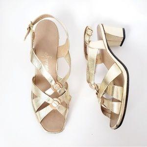 Penaljo Vintage Gold Metallic Strapy Pumps Heels 6